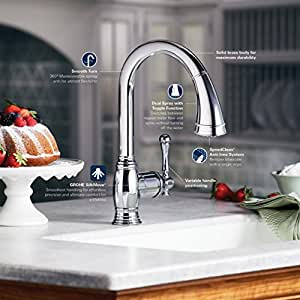 Grohe 33870en0 bridgeford pull down spray kitchen faucet brushed nickel touch on kitchen sink - Grohe kitchen faucets amazon ...