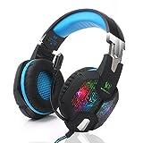 Amazon.co.jpゲーミングヘッドセット Foneso ヘッドホン イヤホン 3.5mm ステレオ LEDライトマイク付き 高音質 重低音 騒音隔離 音量調節機能付き PCゲーム用