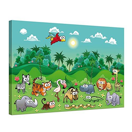"""Bilderdepot24 Leinwandbild """"Kinderbild Dschungeltiere Cartoon"""" - 70x50 cm 1 teilig - fertig gerahmt, direkt vom Hersteller"""