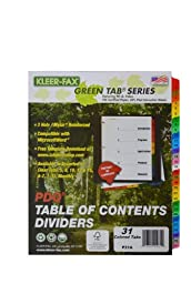 Kleer-Fax PDQ Table of Contents Dividers, 31 Tab Set, One Set, Assorted Colors (41931)