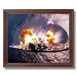 USS Missouri Battleship Firing Guns Naval Ship Military Wall Picture Cherry Framed Art Print