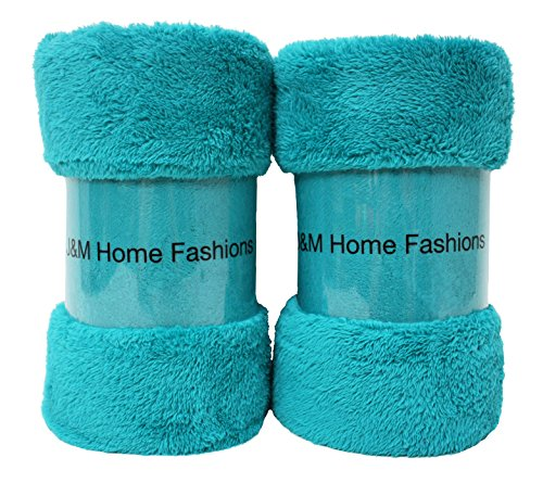 J & M Home Fashions Bright Fuzzy Fleece Throw, 50 By 60-Inch, Teal, 2-Pack front-5815