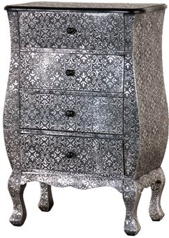 Silver Embossed Metal Bedside Table / Cabinet with 4 Drawers