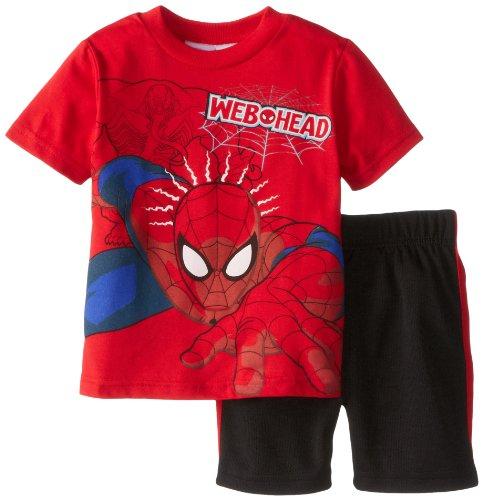 Marvel Little Boys' Spiderman Toddler Short Set, Red, 2T front-1073486