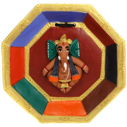 Terra-cotta Wall Hanging with Ganesh Statue on a Plate