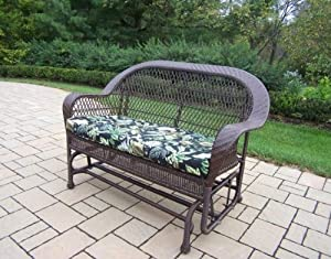 Oakland Living Coventry Wicker Glider with Black Floral Cushion, Coffee