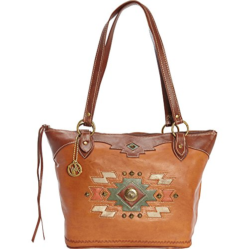 american-west-zuni-passage-zip-top-bucket-tote-golden-tan-antique-brown-one-size