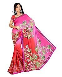 Madhavi Women Faux Georgette Lace Saree (4012 _Pink _Free Size)