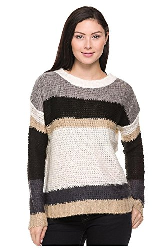 G2 Chic Women's Long Sleeve Striped Knit Casual Sweater Top(TOP-SWT,GRY-L)