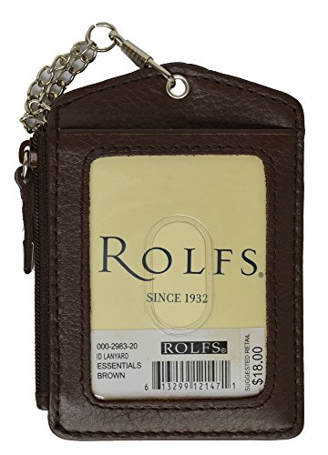 Rolfs Id Lanyard Leather Badge Holder  Chain