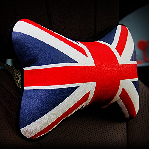 Mr.Dakai 1 PCS Union Jack Design PU Leather Car Auto Seat Cover Head Neck Rest Cushion Cushion Pad Headrest Pillow (Red and Blue) (British Flag Car Seat Covers compare prices)