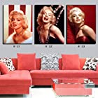XM Art-Red Black White Marilyn Monroe Home Decoration Print on Canvas Modern Wall Painting Art set of 3 Each Unstretched And UnFramed Modern Abstract Wall Art Paintings For Wall and Home Decorations