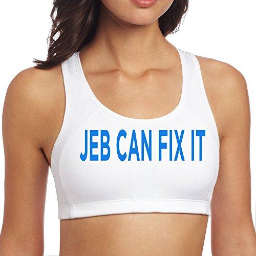 XJBD Women's Cool Jeb Can Fix It Yoga Bra White S