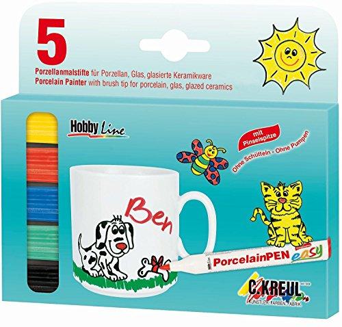 Hobby Line 16300 - Porzellanmaler 160 °C mit Pinselspitze 5er Set