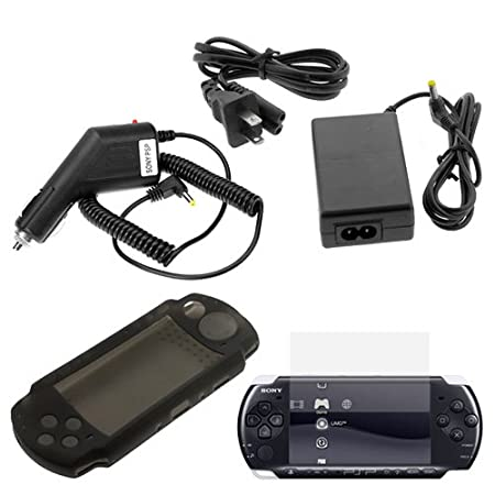 GTMax Home Travel Wall AC Charger Power Adapter + Car Charger + Black Silicone Skin Cover Case + Clear LCD Screen Protector for Sony PSP