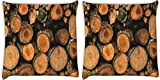 Snoogg Trees Cutted Down Pack Of 2 Digitally Printed Cushion Cover Pillows 12 X 12 Inch