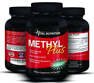 Methyl Folate 5-MTHF a Vitamin B Supreme Complex - Up to 2 Month Supply - The #1 Supplement to a Long, Healthy Life - Order Risk Free