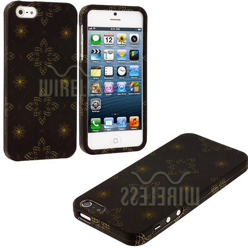 Mylife (Tm) Brown + Gold Floral Pattern Series (2 Piece Snap On) Hardshell Plates Case For The Iphone 5/5S (5G) 5Th Generation Touch Phone (Clip Fitted Front And Back Solid Cover Case + Rubberized Tough Armor Skin + Lifetime Warranty + Sealed Inside Mylif