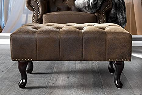 Chesterfield Footstool Brown antique look of the house Casa Padrino