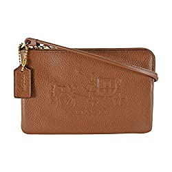 Coach Embossed Horse and Carriage Small L-Zip Leather Wristlet 52500 Saddle