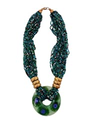 Adrika Statement Necklace In Blue And Green - 201