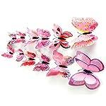 Amison 12 x 3D Elegant Schmetterling Wandaufkleber Kühlschrank Magnet Raum Dekor Abziehbild Applikationen (Pink)