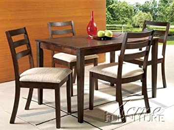 5pc Dinette Dining Table & Chairs Set in Walnut Finish