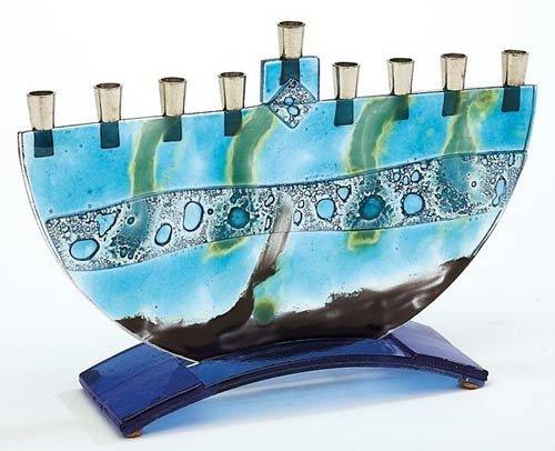 Fused Glass Art Menorah by Tamara - Hinder Sea