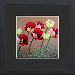 King Silk Art 100% Handmade Embroidery Framed The Blooming Of Colorful Red Yellow Tulips Oriental Wall Hanging Art Asian Decoration Tapestry Artwork Picture Gifts 36040BFB1