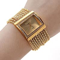 RayShop - Women's Gold Diamond Case Alloy Band Bracelet Watch