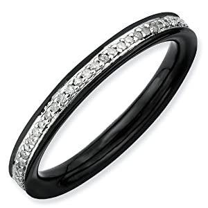 Sterling Silver Stackable Expressions and Rough Diamonds Black-plated Ring - Size 5 - JewelryWeb