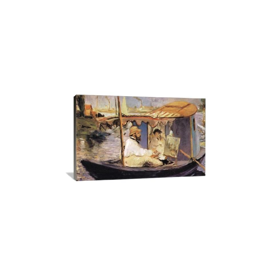 Claude Monet dans son bateau atelier   Gallery Wrapped Canvas   Museum Quality  Size 30 x 20 by Eduard Manet