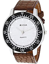 T STAR White Dial Brown Strap Round Analog Watch For Men - TSW-026-M-WT-BR