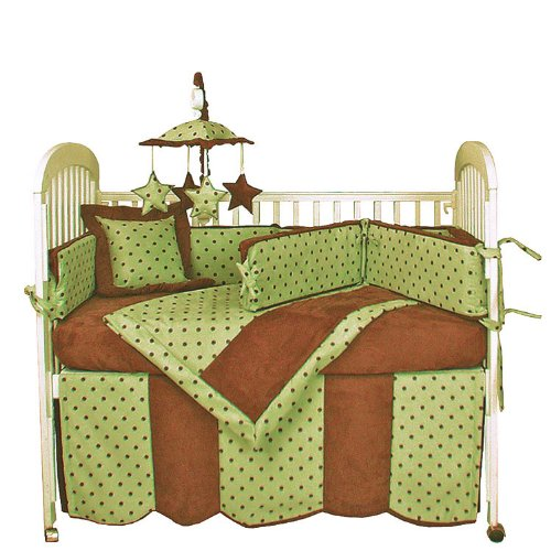 Hoohobbers 4-Piece Crib Bedding, Dots Green - 1