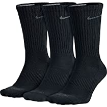 [SX4827-001] NIKE 3PPK DRI FIT CUSHION CREW COTTON SOCKS ACCESSORIES SOCKS NIKEBLACK
