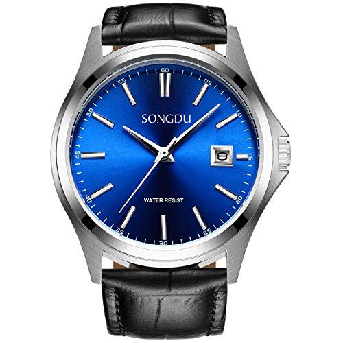 songdu-mens-quartz-waterproof-boyfriend-wrist-watch-blue-dial-soft-black-calfskin-leather-strap