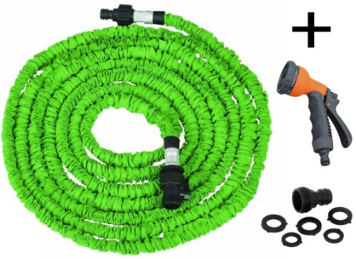 Expandable Garden Hose Including Spray Gun - Green (25 Feet)