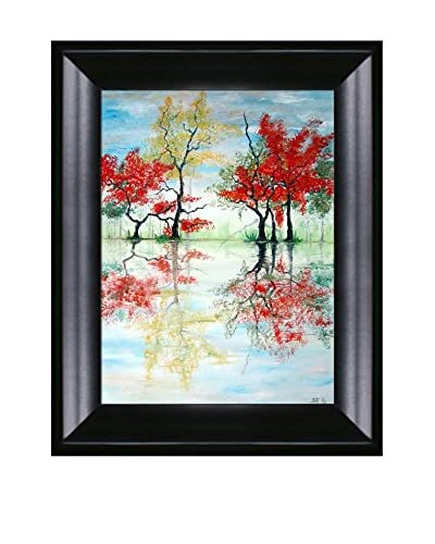 "Susan Art ""Colored Trees"" Framed Canvas Print"