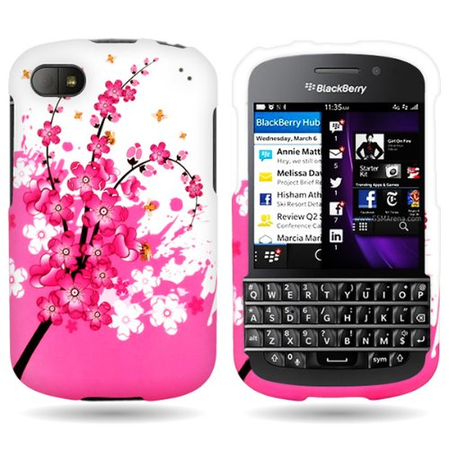 Coveron® Slim Hard Case For Blackberry Q10 With Cover Removal Tool - (Spring Flower)