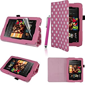 "GadgetinBox™ - Polka Dot Pink New Kindle Fire HD 7"" 2013 Version Multi Functional Case With Sleep/Wake Feature + Screen Protector & Stylus Pen (Not for HDX or Kindle HD 2012 Model)"