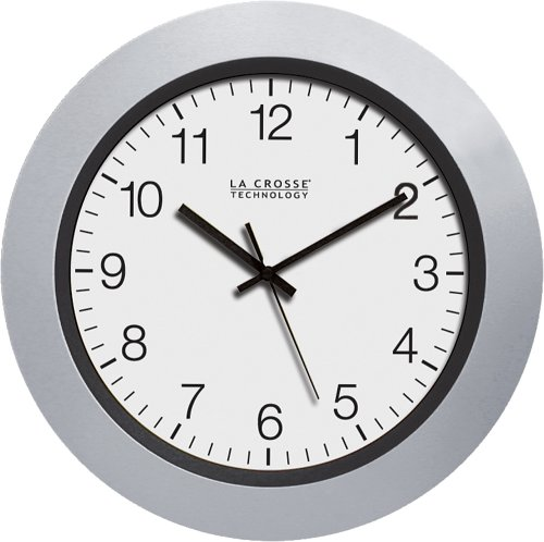La Crosse Technology WT-3102S 10-Inch Atomic Analog Wall Clock, Silver