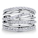 Sterling Silver 925 Cubic Zirconia CZ Multi Strand Woven Ring Band - Nickel Free Fashion Right Hand Ring