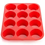 "OvenArt Bakeware OV-SB50-01 Silicone Muffin Pan, 12.8"" x 9.7"" x 1.2"", Red"