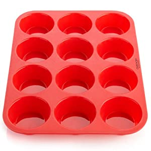 OvenArt Silicone Bakeware - Muffin Pan / Cupcake Pan - 12 Cup Muffin Tin - 100% BPA-Free - Nonstick, Easy to Clean Muffin Tray