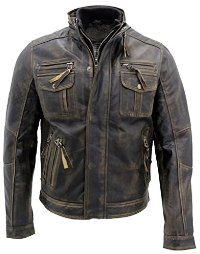 Nero caldo Brando giubbotto da motociclista in pelle da uomo L