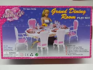 Gloria Barbie Doll Sized Grand Dining Room Furniture & Accessories