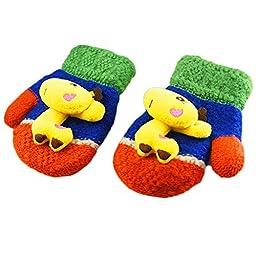Smartlife Baby Girls Boys Super Warm Wool Yarn Knit Mittens Gloves for Kid 2-5 years (Giraffe)