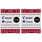 Pilot Namiki IC100 Fountain Pen Ink Cartridge, Black, 24 cartridges total (Color: Black, Tamaño: Pack of 2)