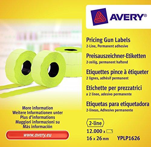 Avery zweckform étiquettes yPLP1626 étiqueteuse 2 lignes, 16 x 26 mm, 10 rouleaux jaune capacité 12000 étiquettes