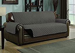Quilted Reversible Microfiber Pet Dog Couch Furniture Protector Cover (Sofa, Black/Gray)